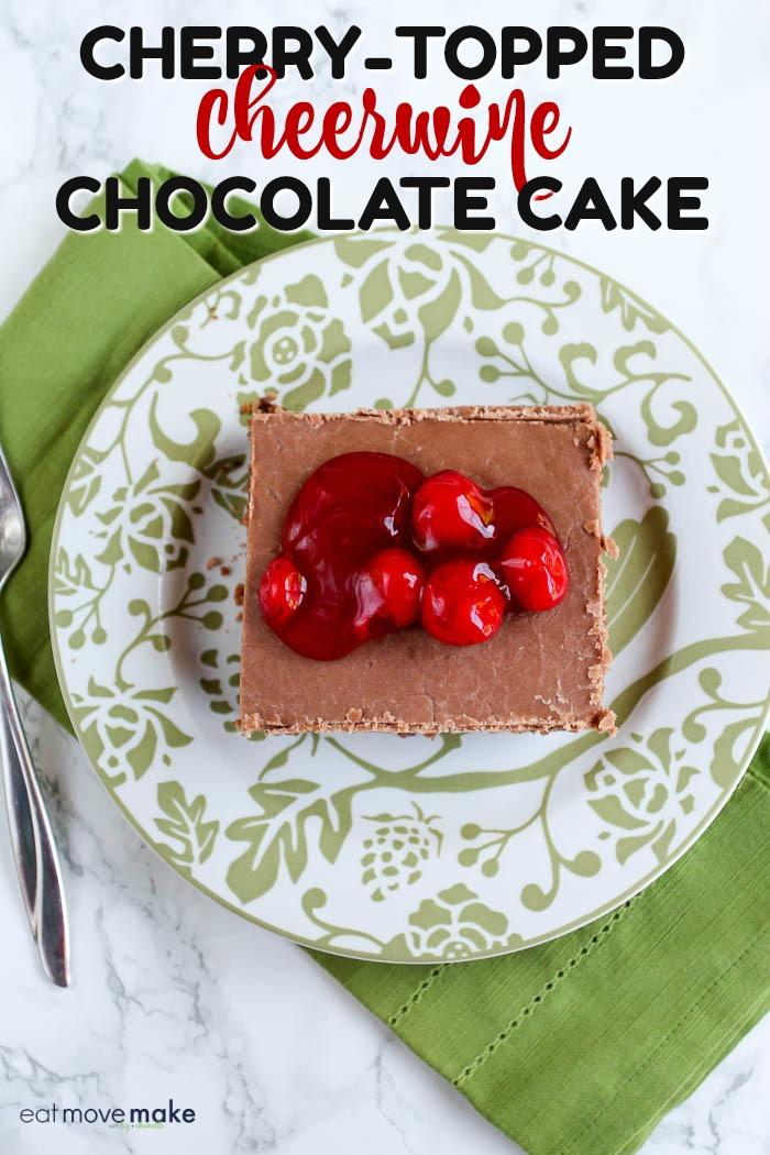overhead photo of Cherry-topped Cheerwine Chocolate Cake