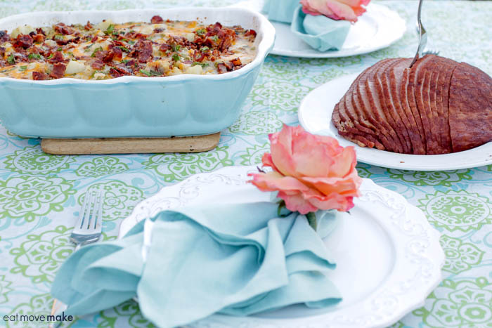 Baked Potato Bacon and Peas Casserole on table