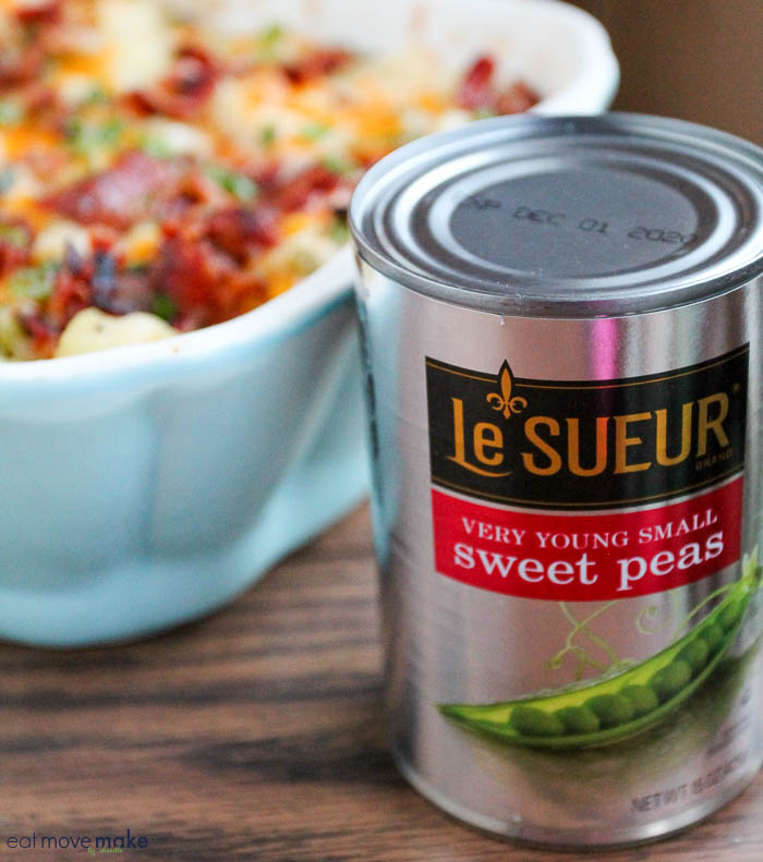 casserole with can of sweet peas
