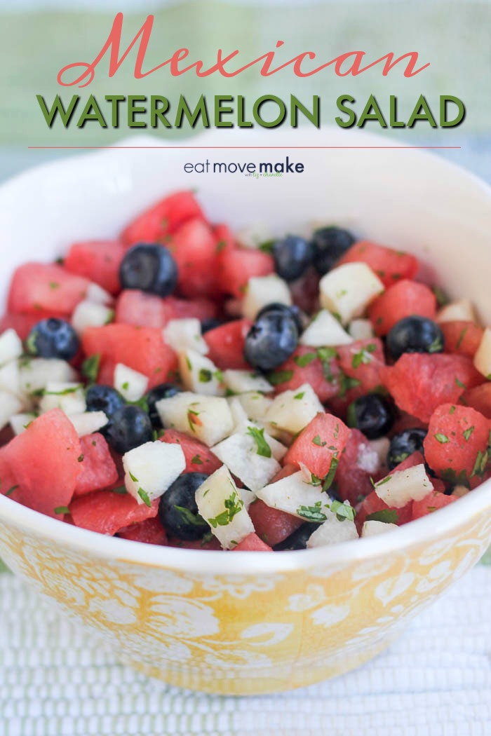 Mexican watermelon salad recipe with jicama and blueberries in yellow flowered serving bowl
