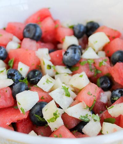 A bowl of fruit salad, with Watermelon