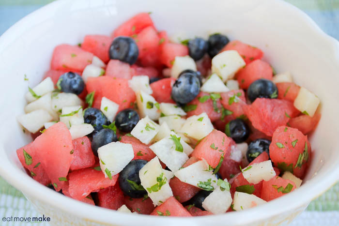 Mexican watermelon salad in serving bowl