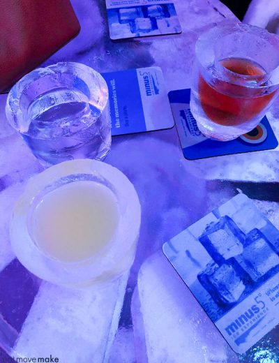 cocktails at Minus 5 Ice Bar
