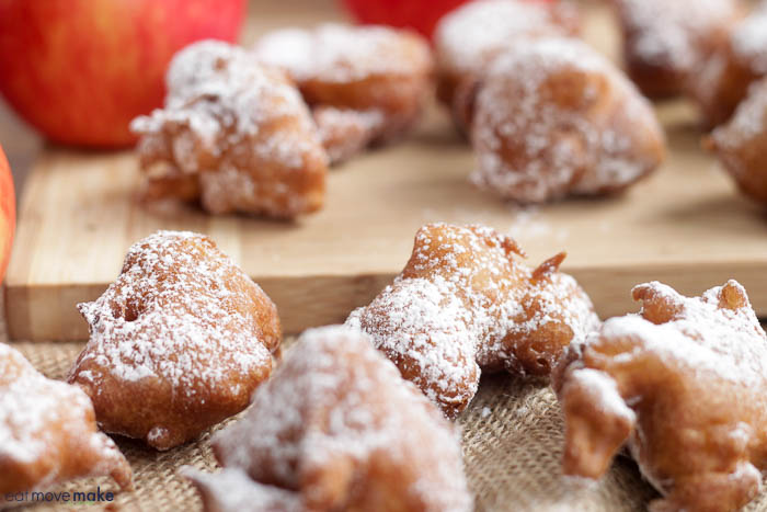 apple fritters on cutting board