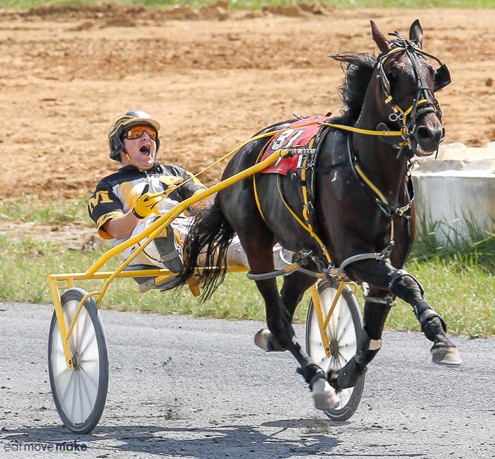 a jockey and horse at Shenandoah Downs