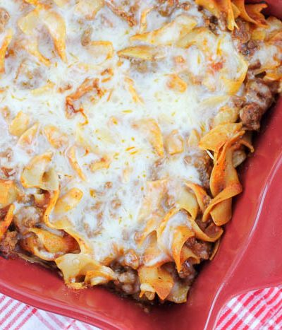 pizza casserole in baking dish