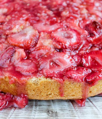 strawberry upside down cake side view