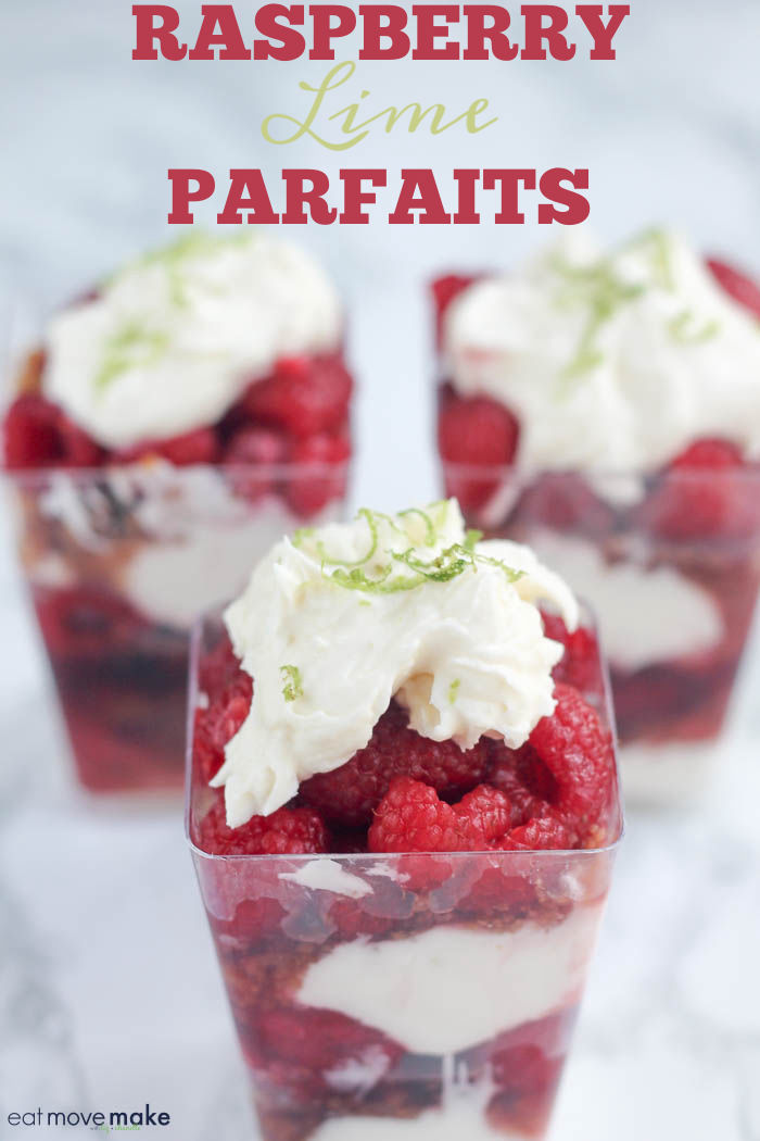 raspberry lime parfaits in dessert cups