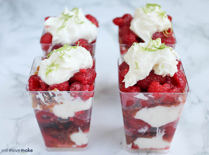 raspberry lime parfaits - four of them on table