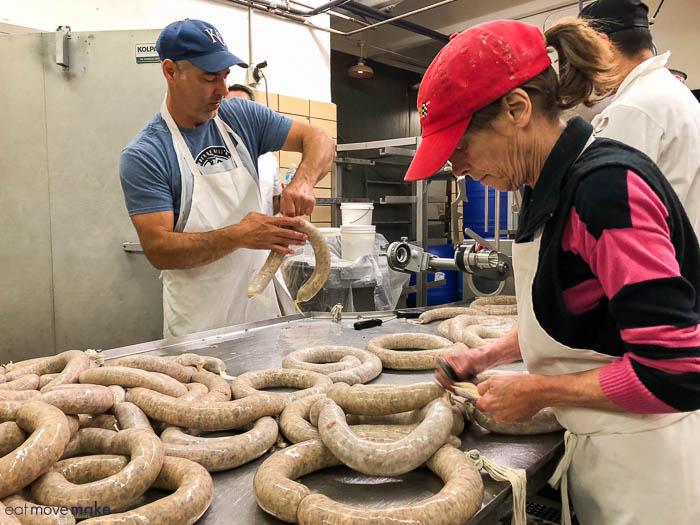 stuffing sausages