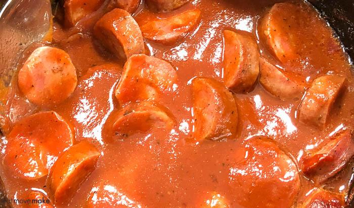 A bowl of BBQ sausage