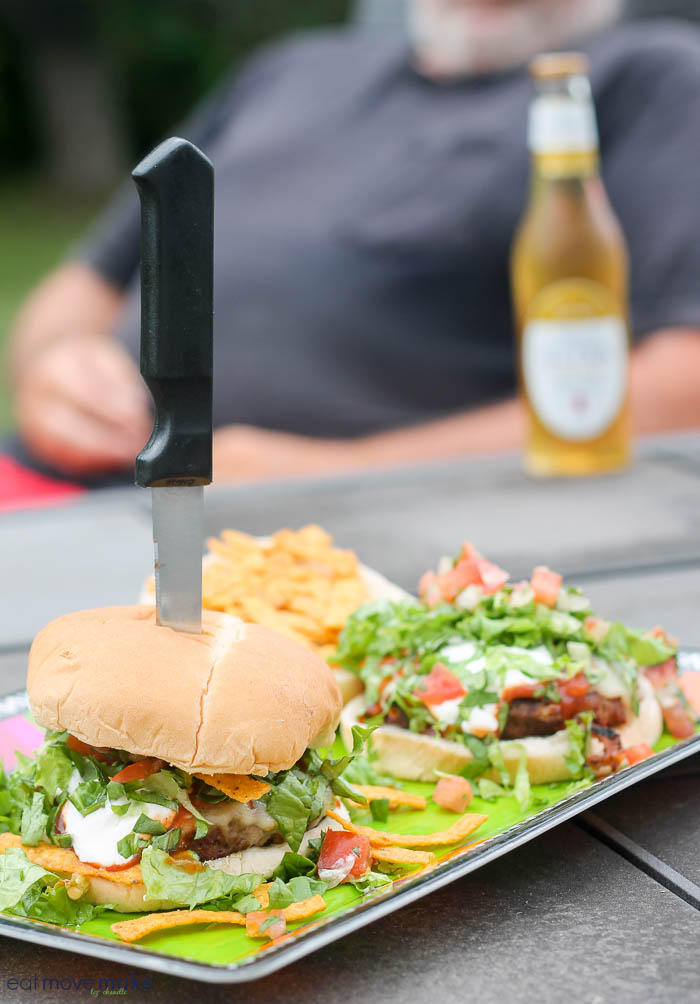 fiesta burgers on picnic table