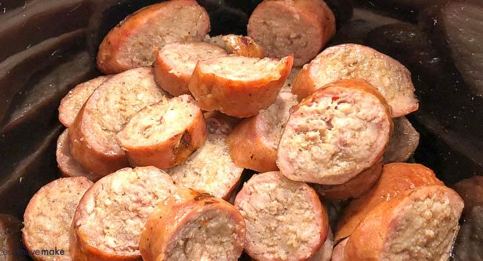 A close up of sausage