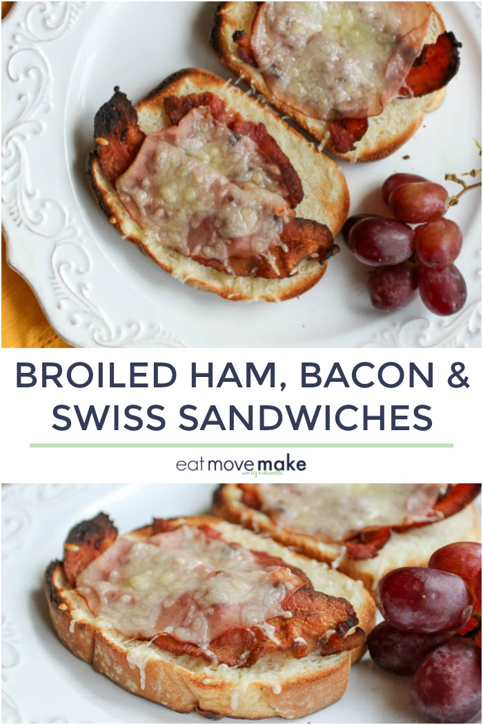 broiled ham, bacon and Swiss cheese sandwiches