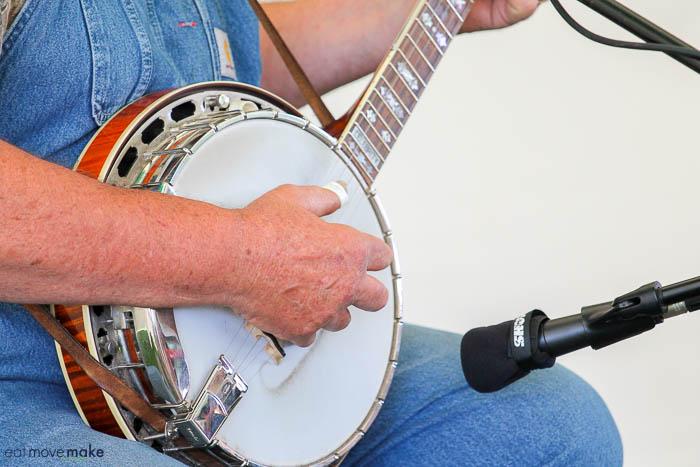 close-up of banjo