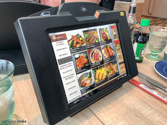 digital menu on a table