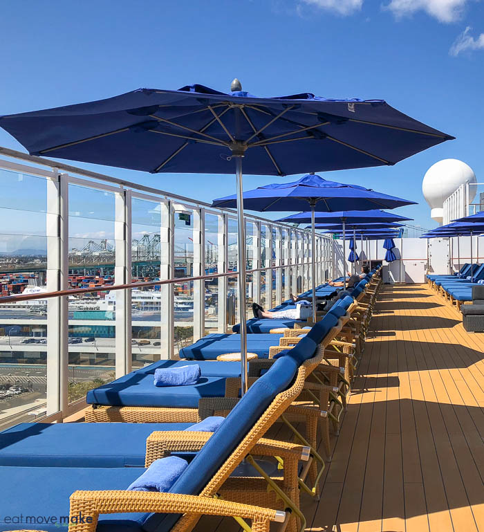 lounge chairs on sun deck of Norwegian Bliss