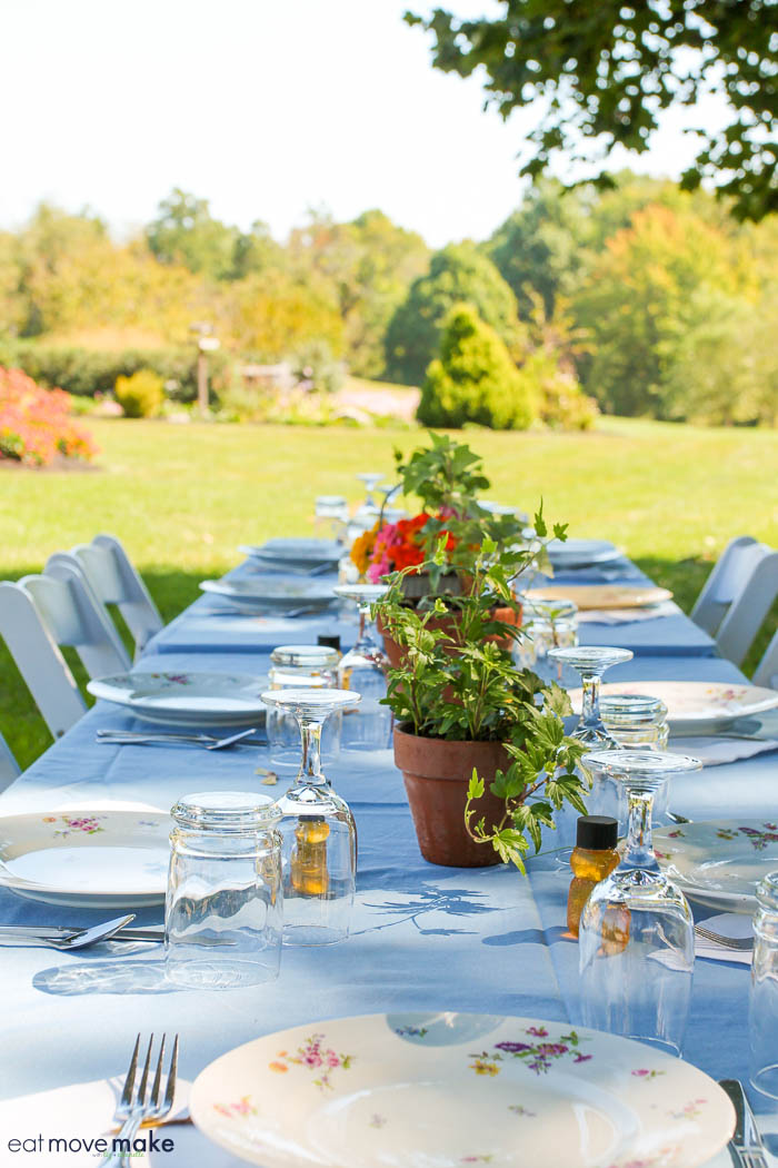 a table set outdoors