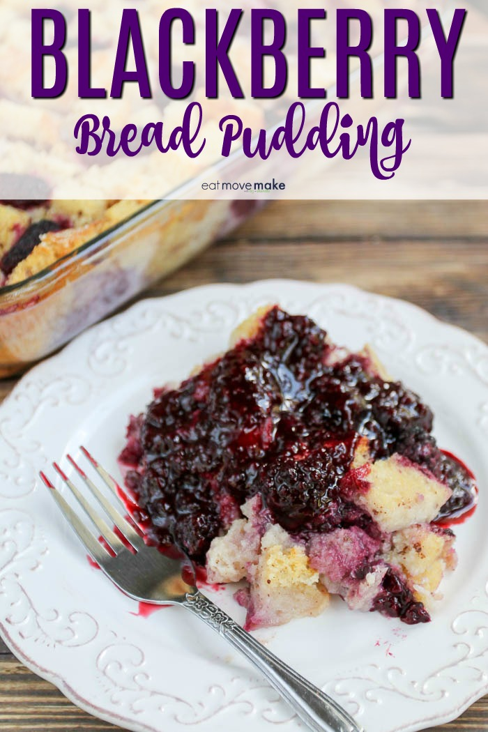 blackberry bread pudding on plate with fork