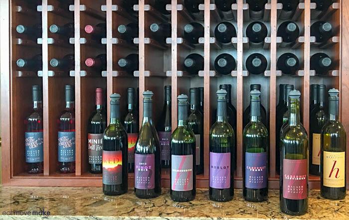 Bottles of wine on table