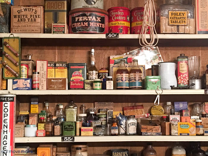 country store items on shelf