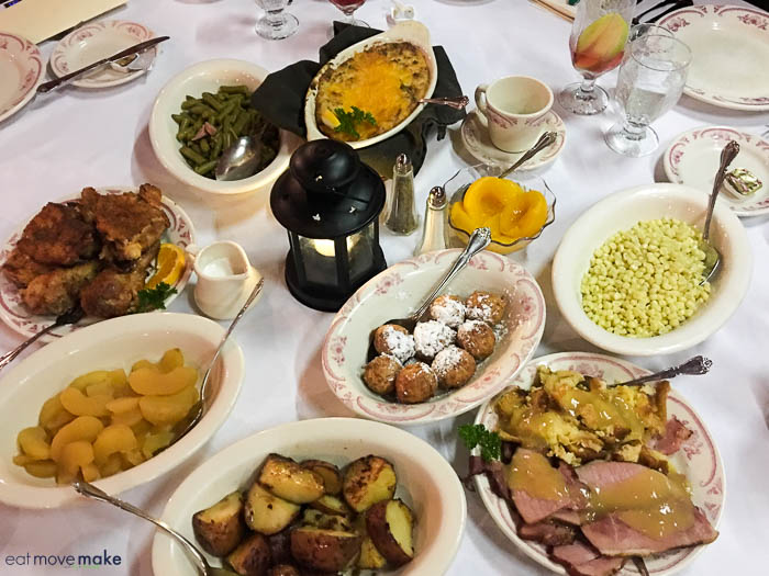 A bunch of food on plates on a table
