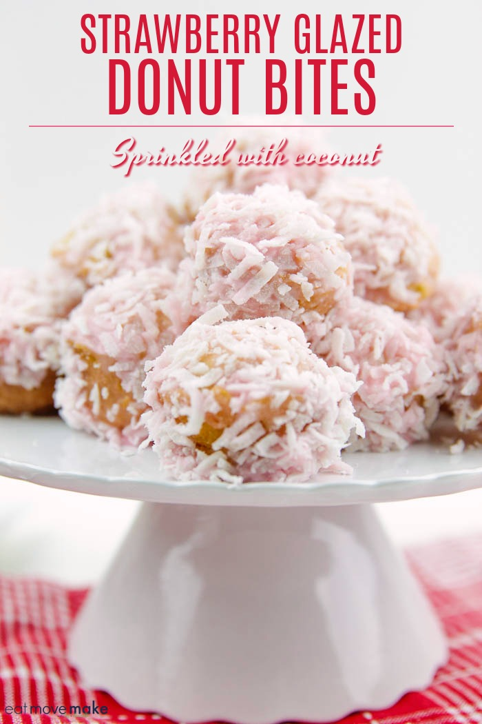 strawberry glazed donut bites (sprinkled with coconut)