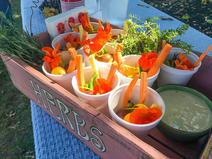 vegetables in cups