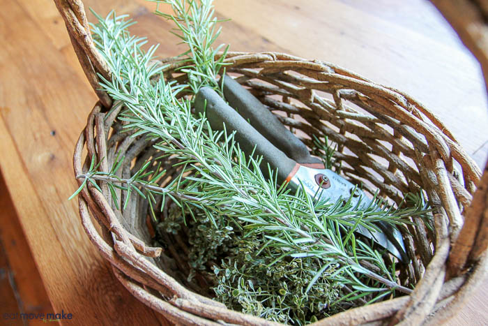 A basket full of herbs