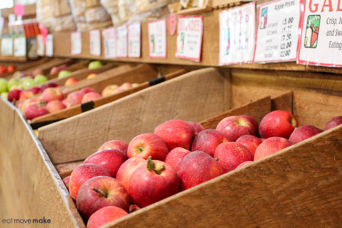 A box filled with apples