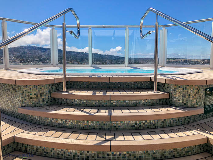 a hot tub on the sun deck