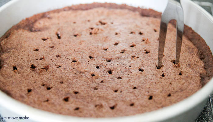 poke holes in warm cake