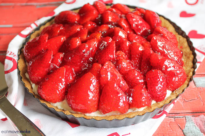 A strawberry tart on table
