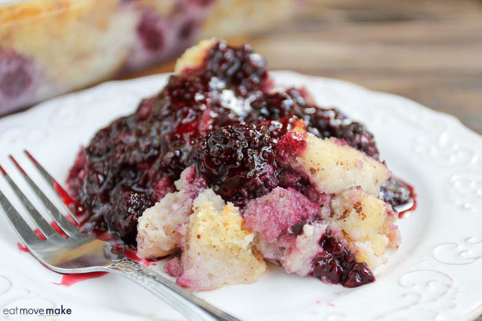 blackberry bread pudding on plate