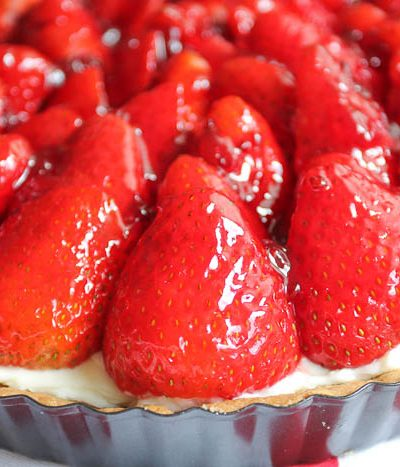 A close up of strawberry tart