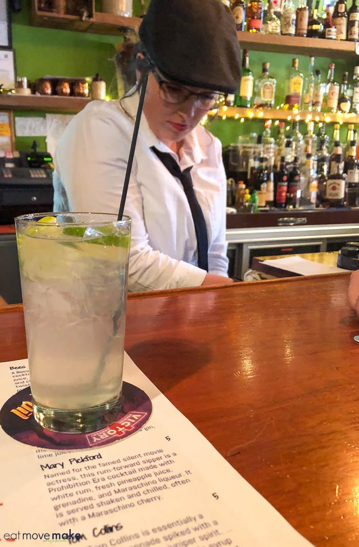 Gin Rickey on bar