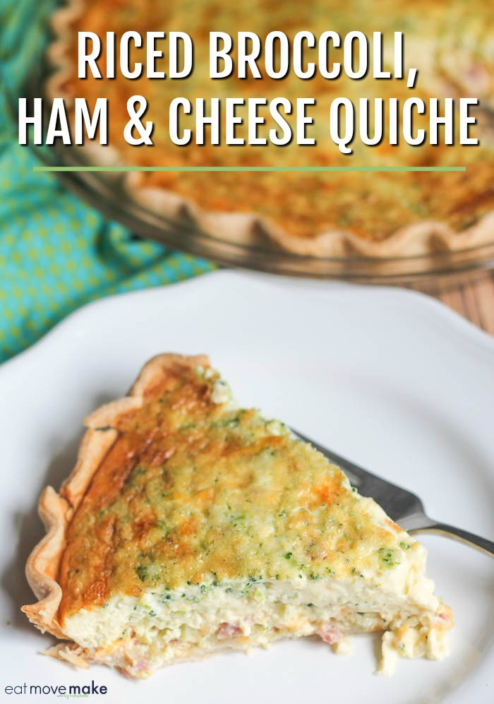 riced broccoli ham and cheese quiche on plate and in baking dish