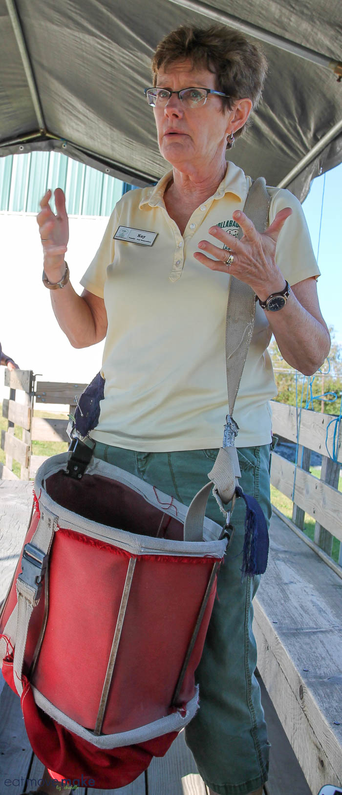 A person wearing apple picking bag
