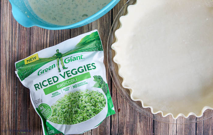 Riced veggies package and empty quiche crust