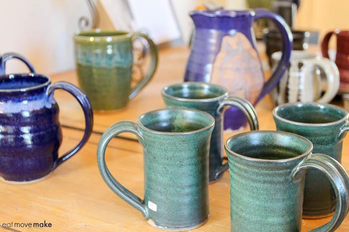 handmade mugs on table