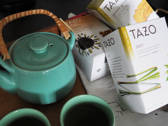 Tazo Tea with tea kettle and teacups