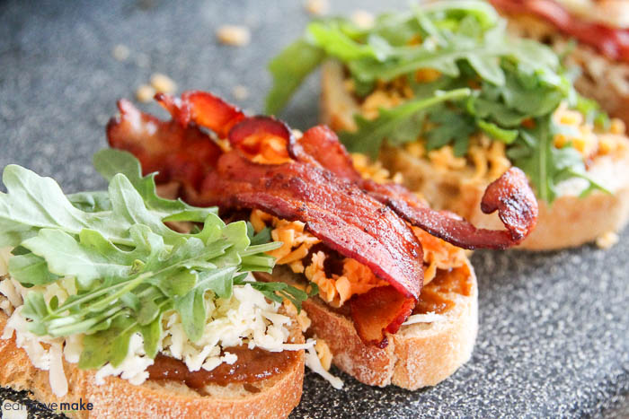 apple, arugula, bacon, cheese and pumpkin butter on bread