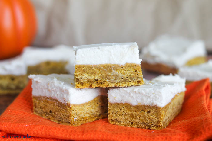 pumpkin cookie bars with cream cheese icing