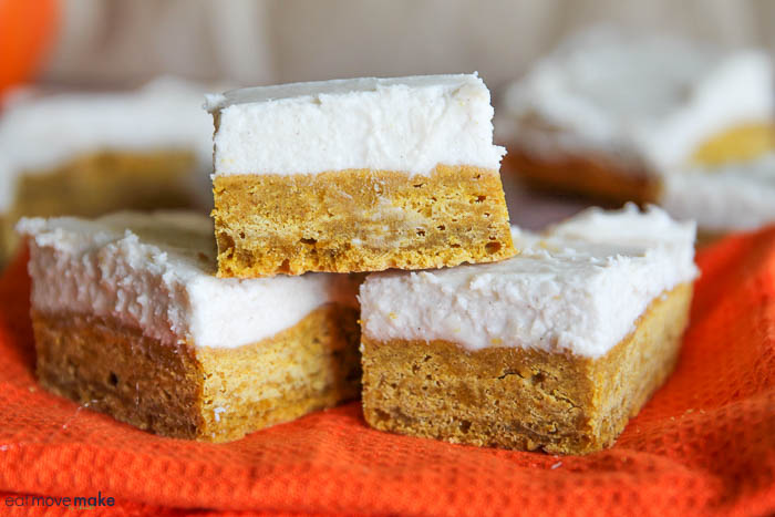 pumpkin cream cheese bars on napkin