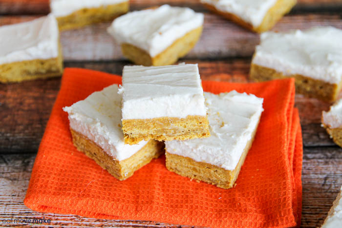 pumpkin cookie bars on napkin