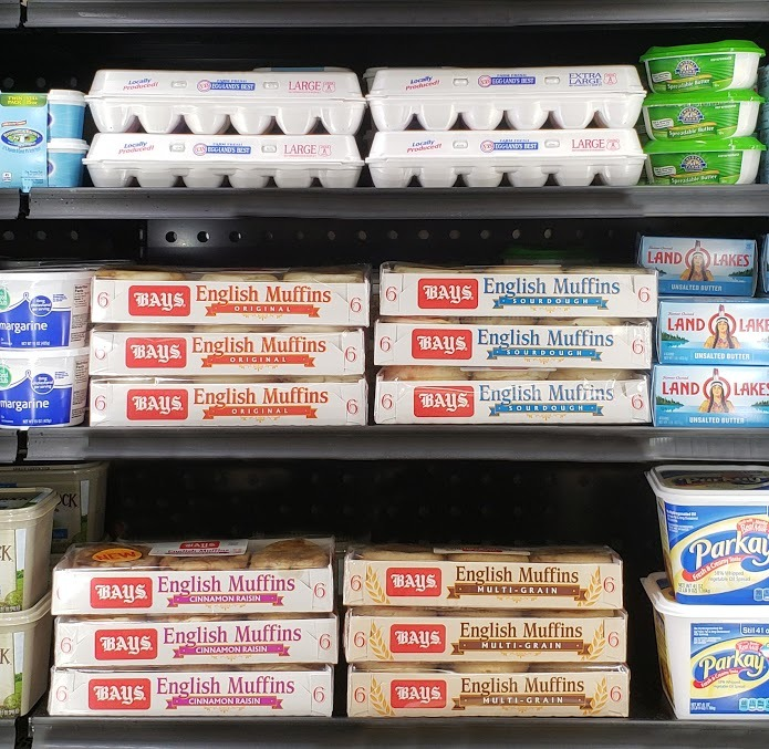 Bay's English muffins on store shelf
