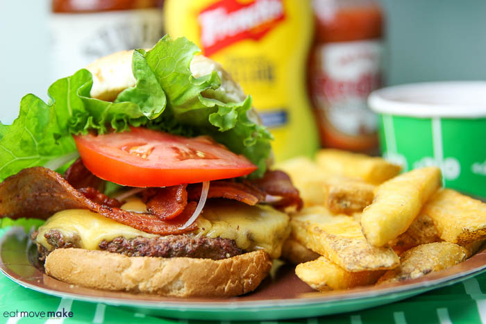 Frank's Redhot Bacon Cheeseburger on plate with fries