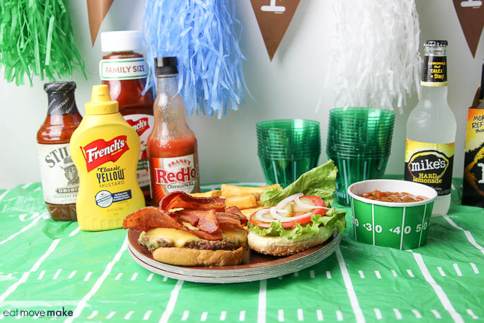 Frank's Redhot Cheeseburger on game day decorated table