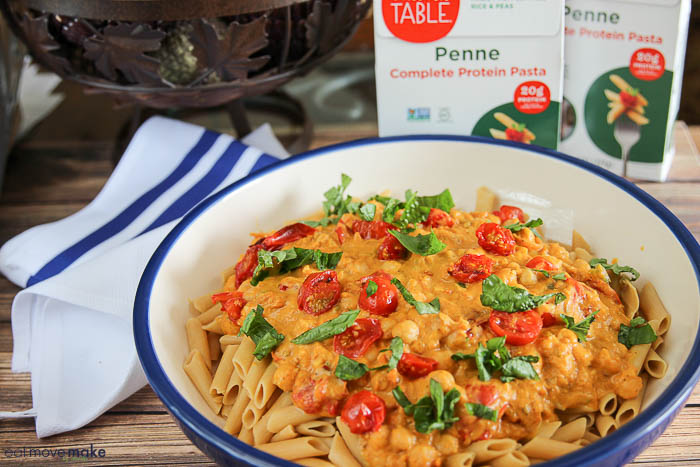Penne Pasta with Pumpkin Pasta Sauce, tomatoes and basil