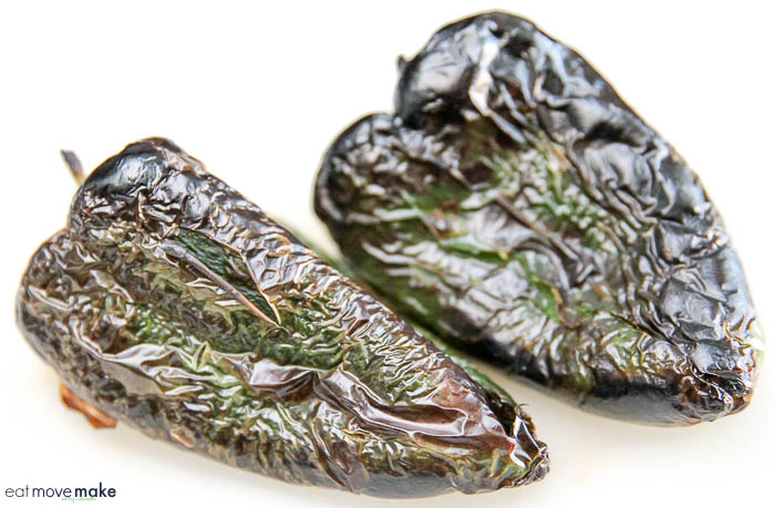blistered poblano peppers
